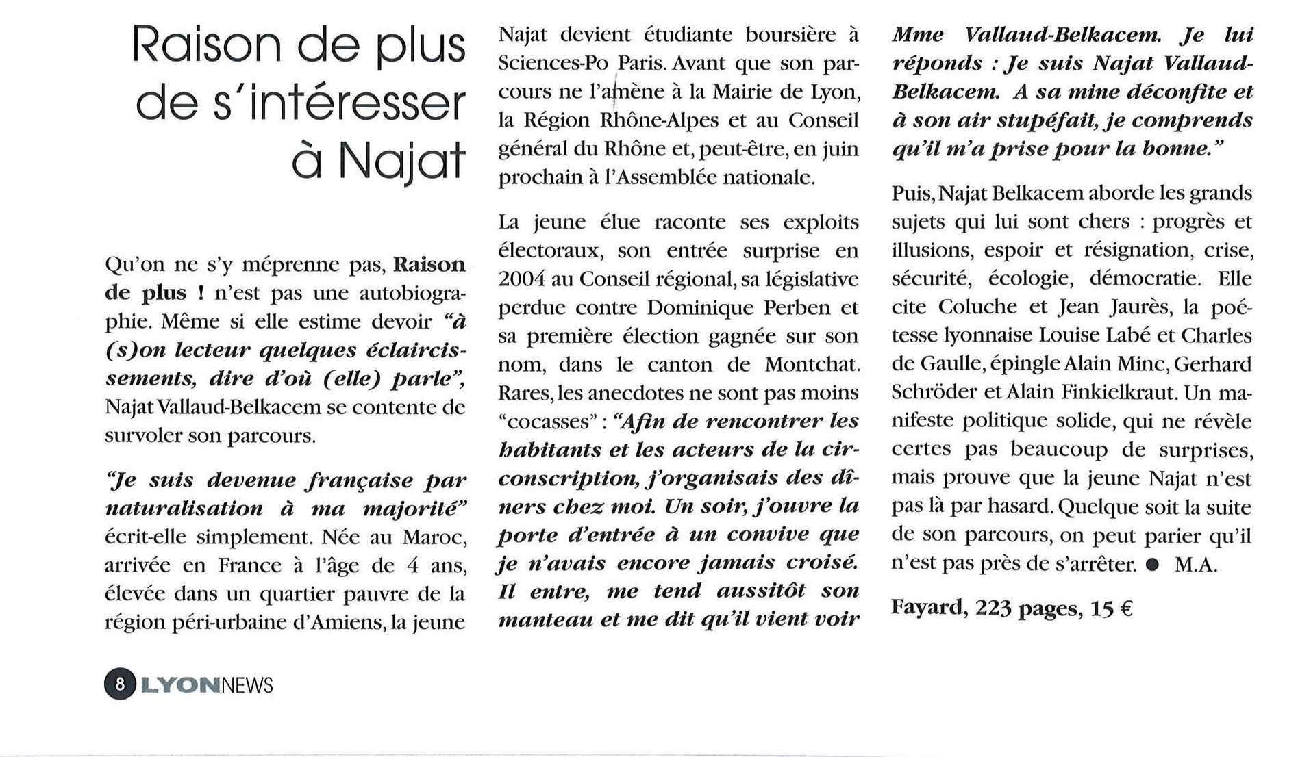 Lyon news Avril 2012-raison de plus