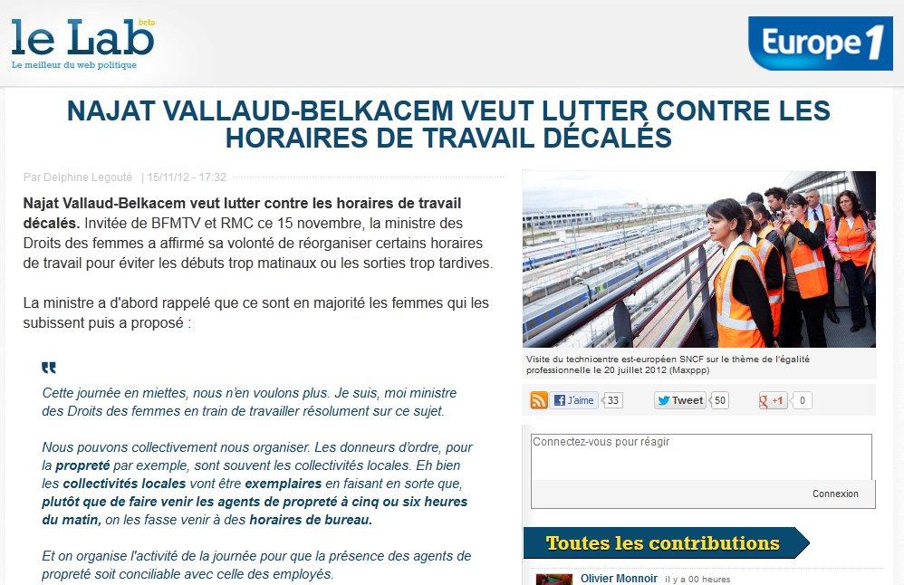Le Lab : Najat Vallaud-Belkacem veut lutter contre les horaires de travail décalés
