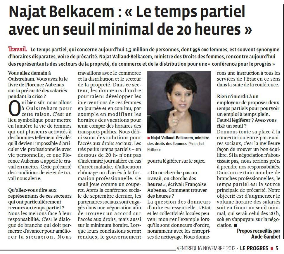 Najat Vallaud-Belkacem : le temps partiel avec un seuil minimal de 20 heures