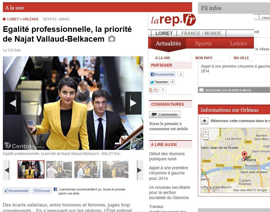 La Republique Du Centre : Egalité professionnelle, la priorité de Najat Vallaud-Belkacem