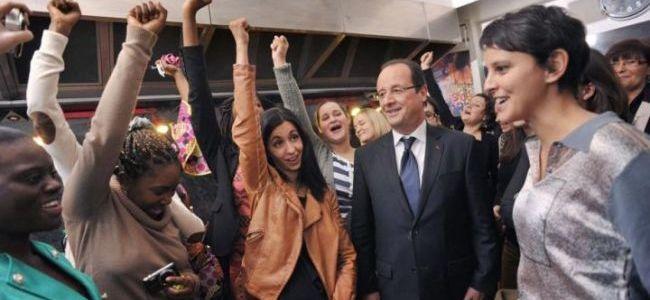 François Hollande et Najat Vallaud-Belkacem visitent le foyer FIT une femme, un toit
