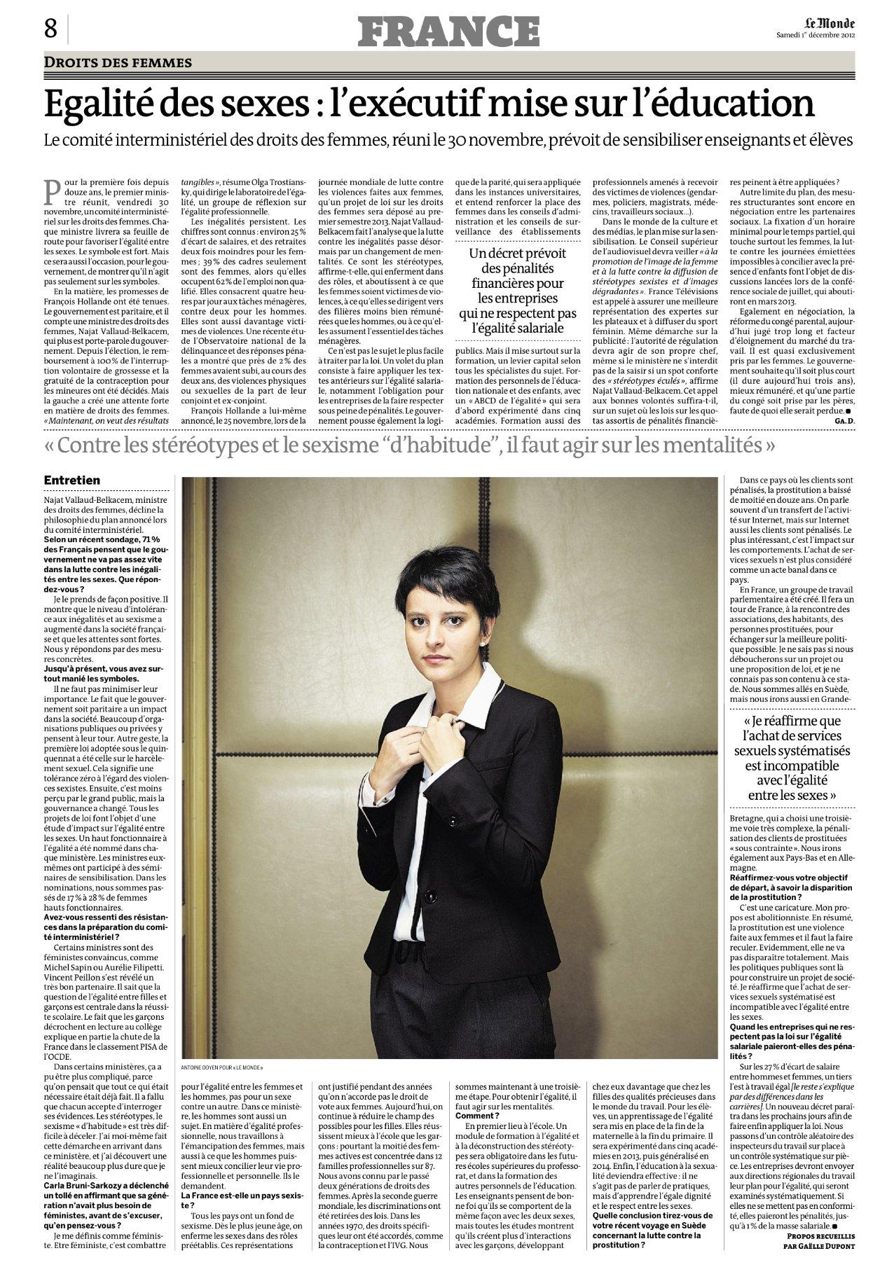 Le Monde couvre le Comité interministériel aux Droits des femmes avec une interview de Najat Vallaud-Belkacem