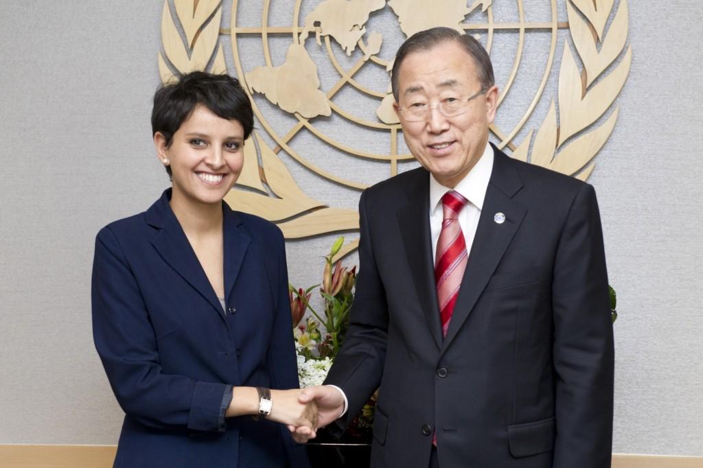 Najat Vallaud-Belkacem rencontre Ban Ki-Moon secrétaire général de l'ONU