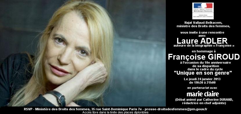 Invitation Unique En Son Genre : Laure Adler en hommage à Françoise Giroud