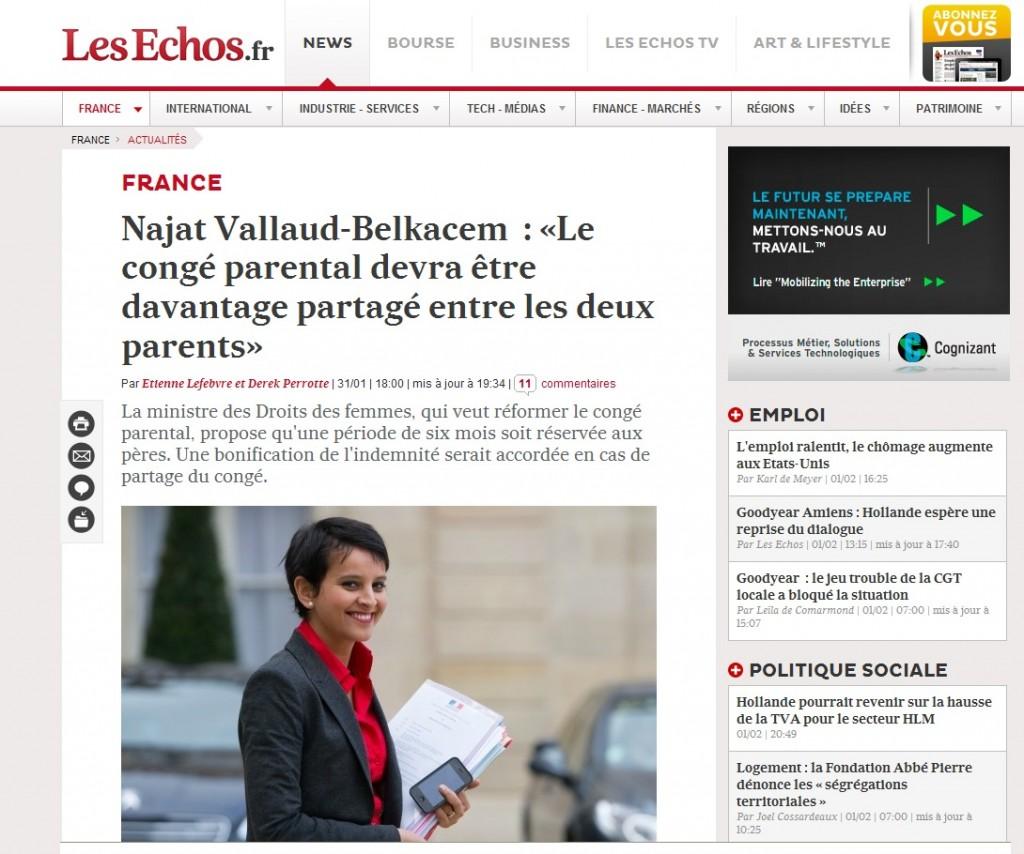 Interiew de Najat Vallaud-Belkacem aux Echos