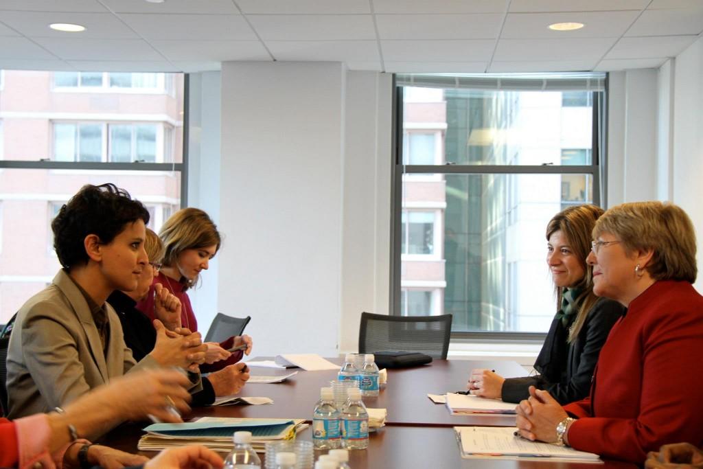 Rencontre le 5 mars dernier entre Najat Vallaud-Belkacem et Michelle Bachelet à l'ONU