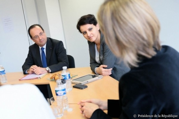 François Hollande et Najat Vallaud-Belkacem visitent Force Femmes