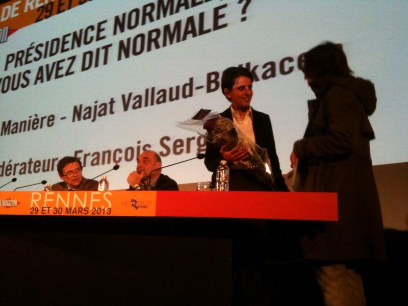 Najat Vallaud-Belkacem à Rennes au Forum Libé, le 29 mars 2013