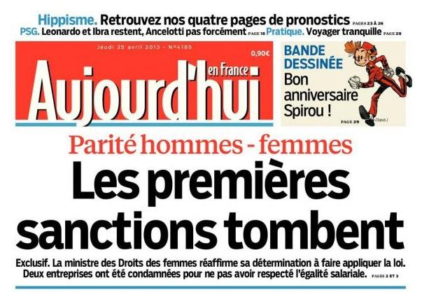 Le Parisien « Parité non respectée : les sanctions tombent »