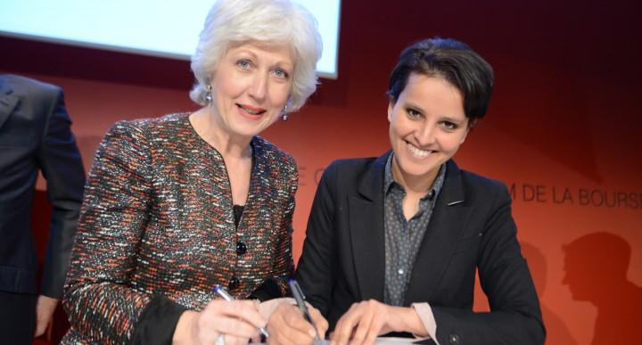 Marie-Claire Capobianco, Directrice de la Banque de détail de BNP Paribas et Najat Vallaud-Belkacem, ministre des Droits des femmes