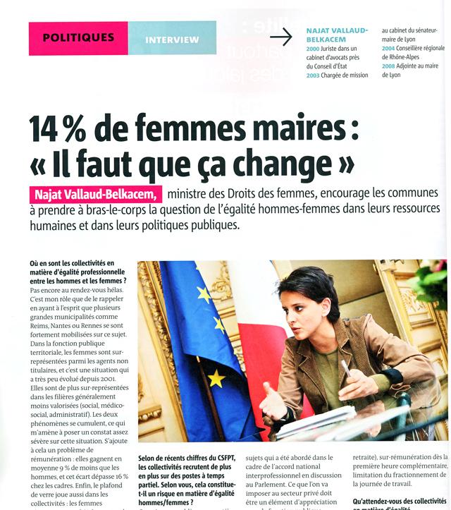 Najat Vallaud-Belkacem - interview à MairesDeFrance - Mai 2013