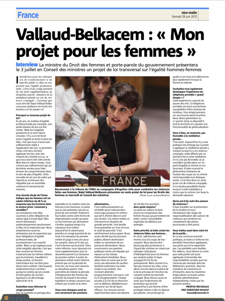 "Nice-Matin Najat Vallaud-Belkacem : ""Mon projet pour les femmes"""