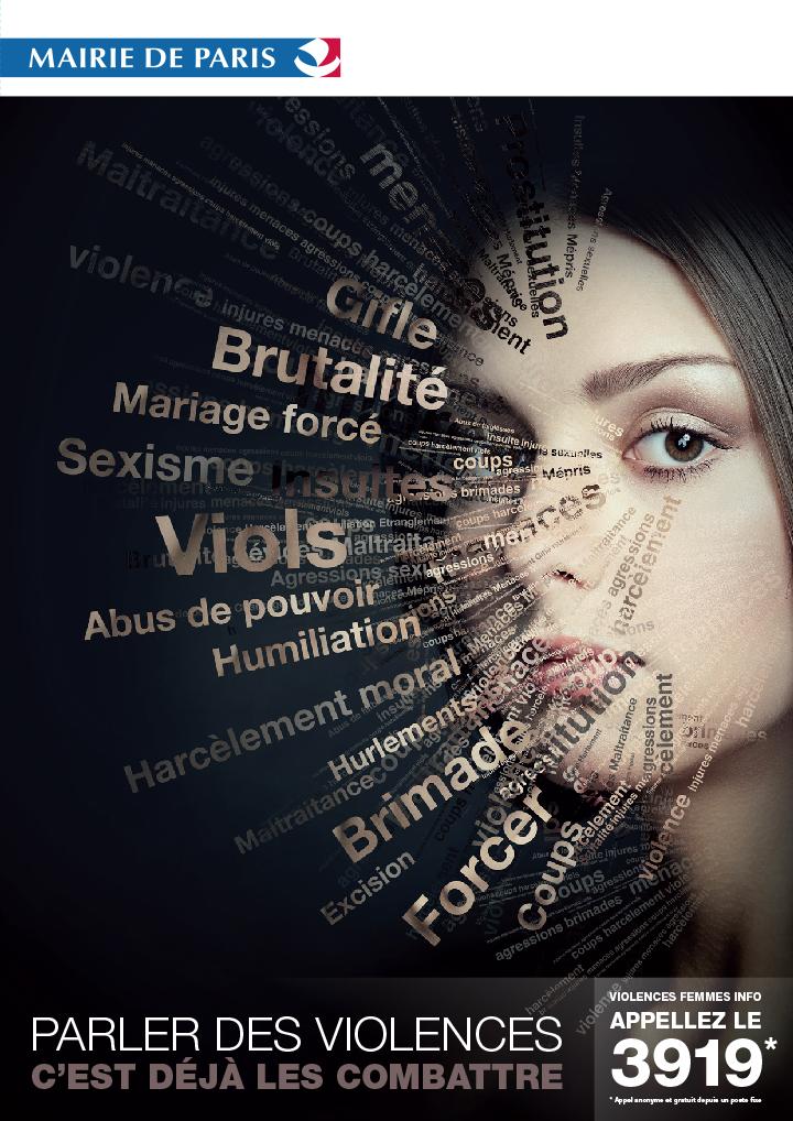 Affiche Violence faites aux femmes de la mairie de Paris