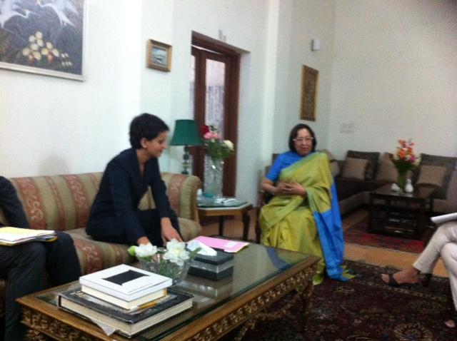 Avec Najma Heptulla, senatrice indienne pour échanger sur les questions de parité
