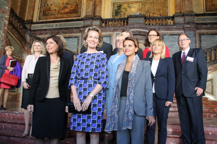 Bruxelles,  Joelle Milquet, Sa Majesté la Reine des Belges et Najat Vallaud-Belkacem