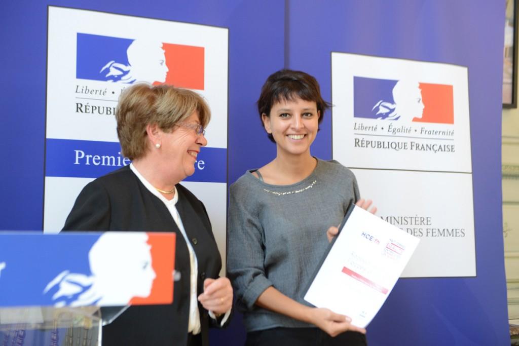 Najat Vallaud-Belkacem et -Danielle-Bousquet remise du rapport du HCE