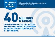 Le chiffre de la semaine : 40 millions d'euros soutiendront les initiatives innovantes pour la diffusion de la culture scientifique et technique