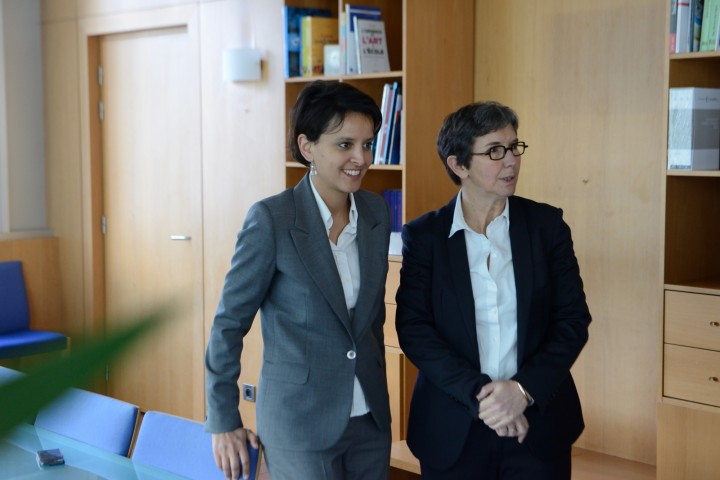 Najat Vallaud-Belkacem - Passation de pouvoir avec Valérie Fourneyron, Jeunesse et Sports , 3 avril 2014.