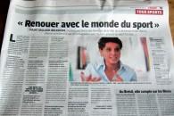 Renouer avec le monde du sport, entretien au journal L'Équipe