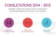 Résultats des consultations nationales sur le projet de socle commun de connaissances et sur le projet de programme de l'école maternelle