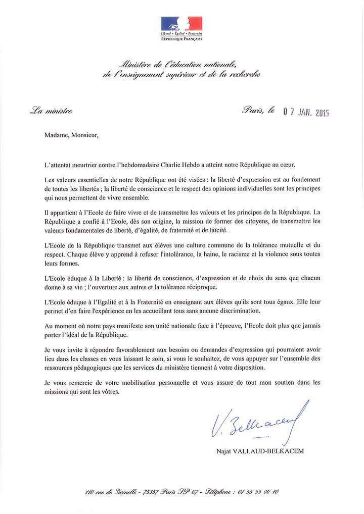 Lettre aux enseignants la suite de l attentat contre for Reexpedition temporaire du courrier