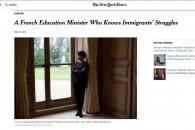 """""""Une ministre française de l'Éducation qui connait les difficultés des immigrés"""" – Portrait du New York Times"""