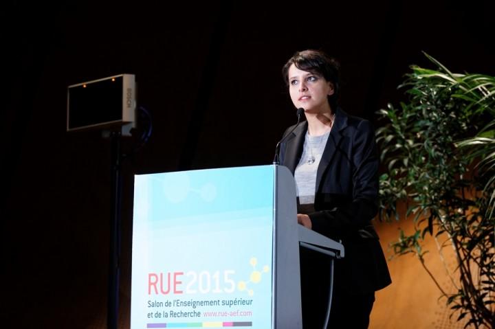 Déplacement de la ministre Najat VALLAUD-BELKACEM au RUE2015 (Rencontre Universités-Entreprises), au Palais des Congrés de Paris, le jeudi 19 mars 2015 - © Philippe DEVERNAY