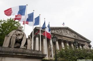 04/2010 : Façade colonnade de l'Assemblée - drapeaux - statue de Sully
