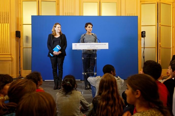 Lancement par la ministre Najat VALLAUD-BELKACEM et Axelle LEMAIRE, de la semaine européenne du code, au ministère de l'Éducation nationale, le vendredi 9 octobre 2015 - © Philippe DEVERNAY