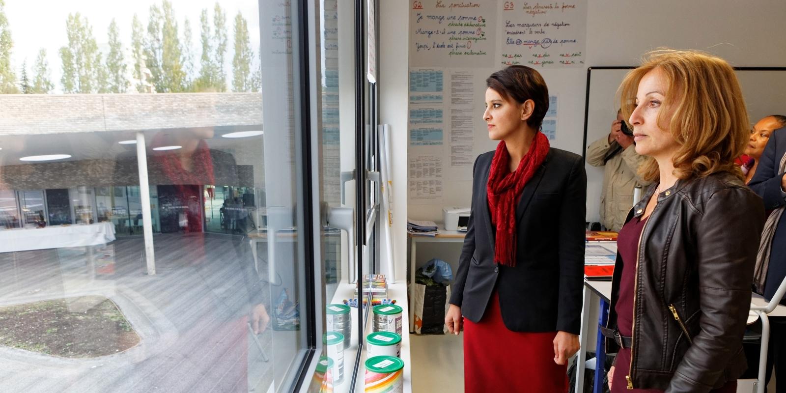 Commissariat De Clichy Sous Bois - Inauguration de l u2019école Claude Dilainà Clichy sous Bois, Seine Saint Denis Najat Vallaud Belkacem