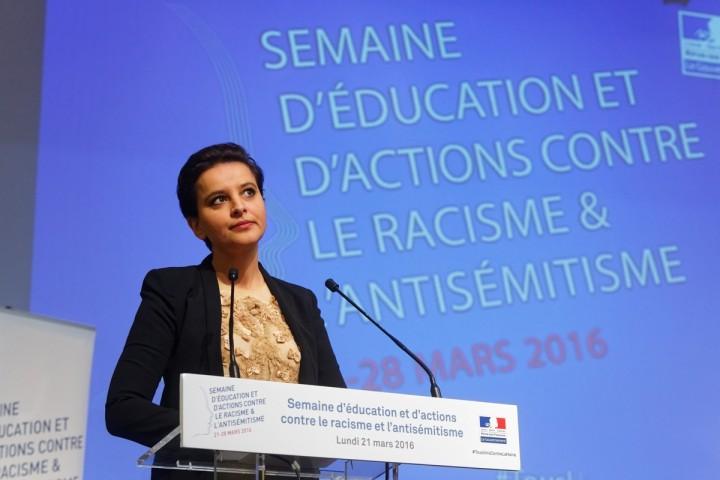 Lancement par la ministre Najat VALLAUD-BELKACEM, en présence de François Hollande, de la semaine d'éducation et d'actions contre le racisme et l'antisémitisme, au Musée national de l'histoire de l'immigration - Paris, le lundi 21 mars 2016 - © Philippe DEVERNAY