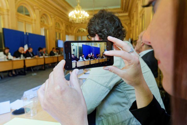 Cloture par la ministre Najat VALLAUD-BELKACEM, du comité de pilotage de la semaine de la presse et des médias à l'école, au Ministère de l'Éducation nationale, le mercredi 6 juillet 2016 - © Philippe DEVERNAY