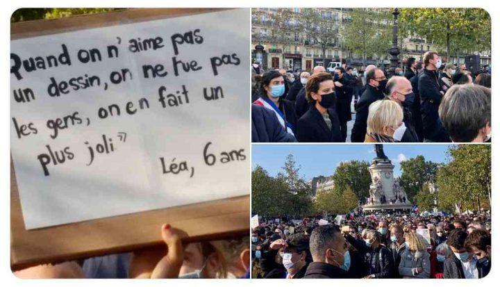 Hommage à Samuel Paty, Place de la République le 18 octobre 2020.